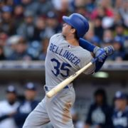 Los Angeles Dodgers left fielder Cody Bellinger (35) follows through during the fifth inning against the San Diego Padres at Petco Park. Photo: Jake Roth-USA TODAY Sports