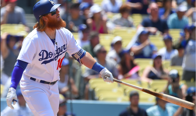 Justin Turner #10 of the Los Angeles Dodgers hits his second home run of the game, a two run shot scoring Logan Forsythe #11, in the third inning against the Kansas City Royals at Dodger Stadium on July 9, 2017 in Los Angeles, California. (Photo by Jayne Kamin-Oncea/Getty Images)