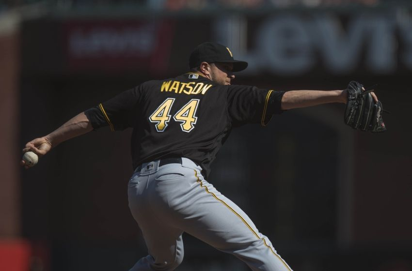 Aug 17, 2016; San Francisco, CA, USA; Pittsburgh Pirates relief pitcher Tony Watson (44) throws a pitch during the ninth inning against the San Francisco Giants at AT&T Park. Mandatory Credit: Kenny Karst-USA TODAY Sports